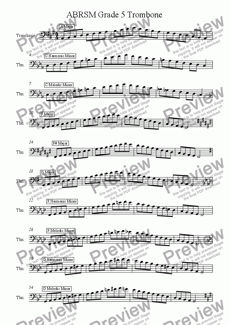 Trombone Grade 5 Scales and Arpeggios (Bass Clef) ABRSM format for Solo  instrument (Trombone) by Ray Thompson - Sheet Music PDF file to download