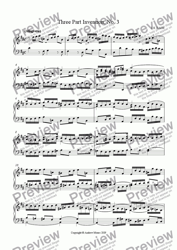 page one of Three Part Invention No. 3 in D Major