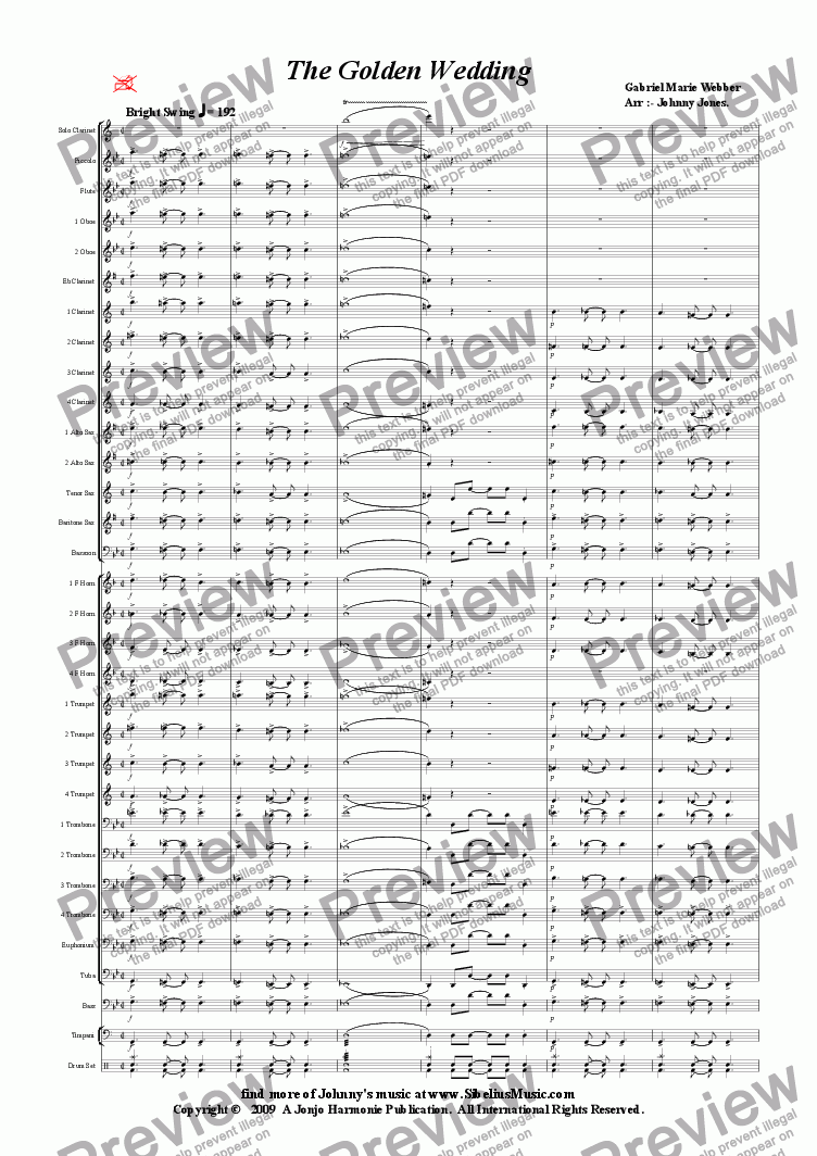 page one of Golden Wedding The   (Concert Windband, Swing Clarinet Solo)