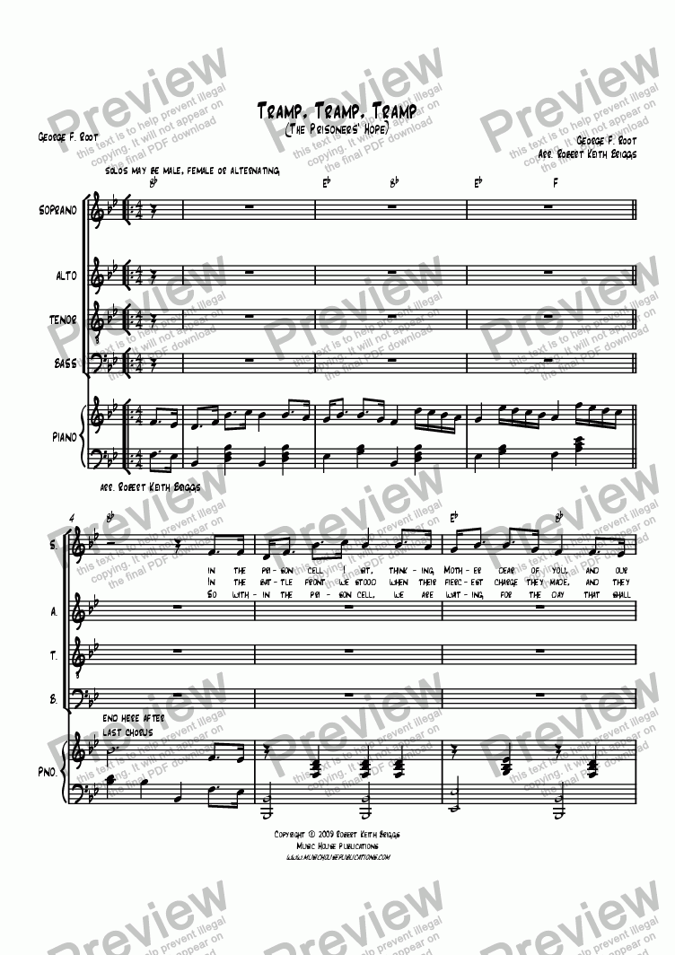 page one of Tramp, Tramp, Tramp (The Prisoner's Hope)