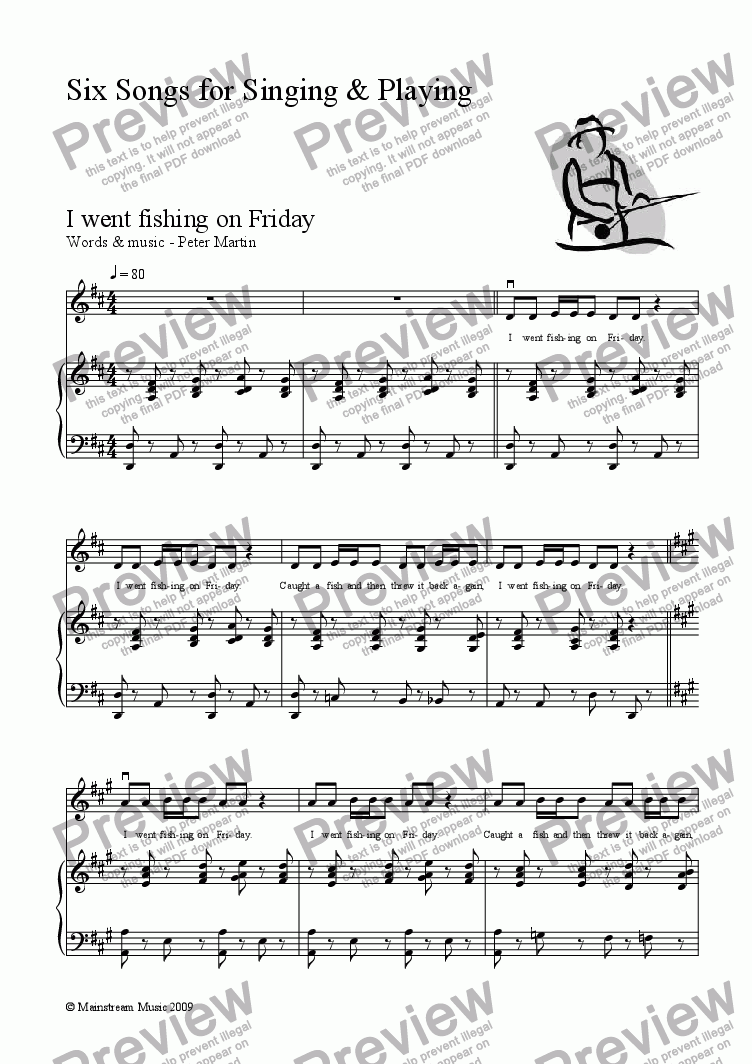 page one of Six Songs for Singing & Playing