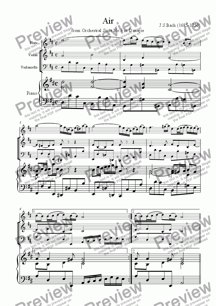 page one of Air from Orchestral Suite No.3