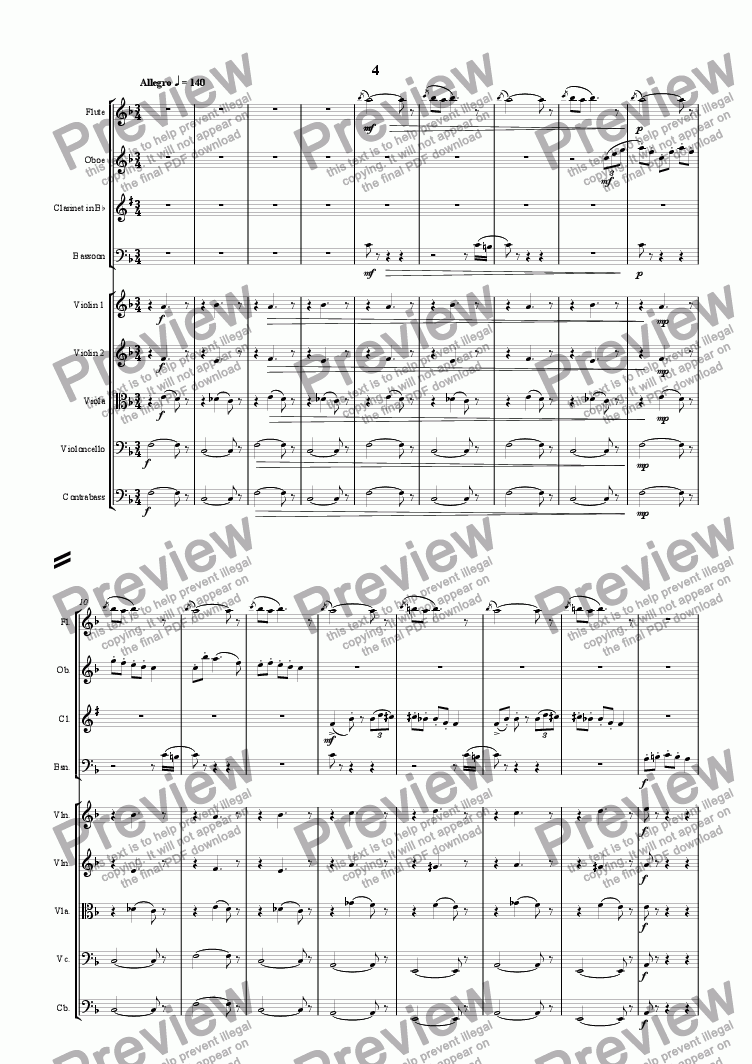 page one of Nonet - Fourth movement