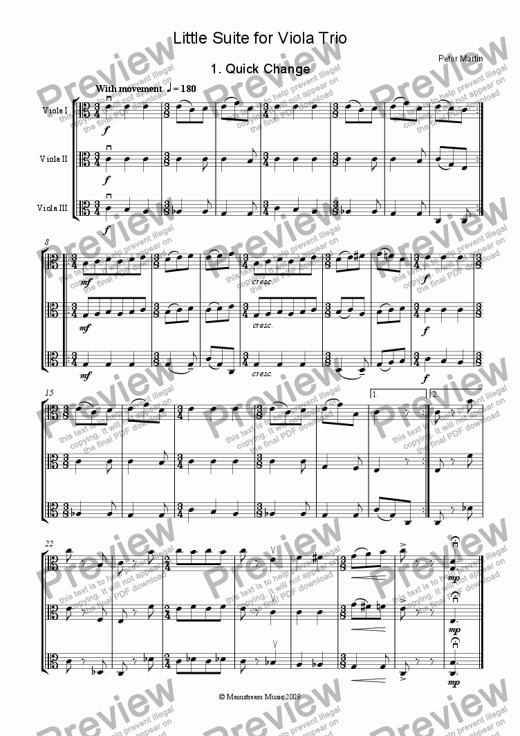 page one of Little Suite for Viola Trio