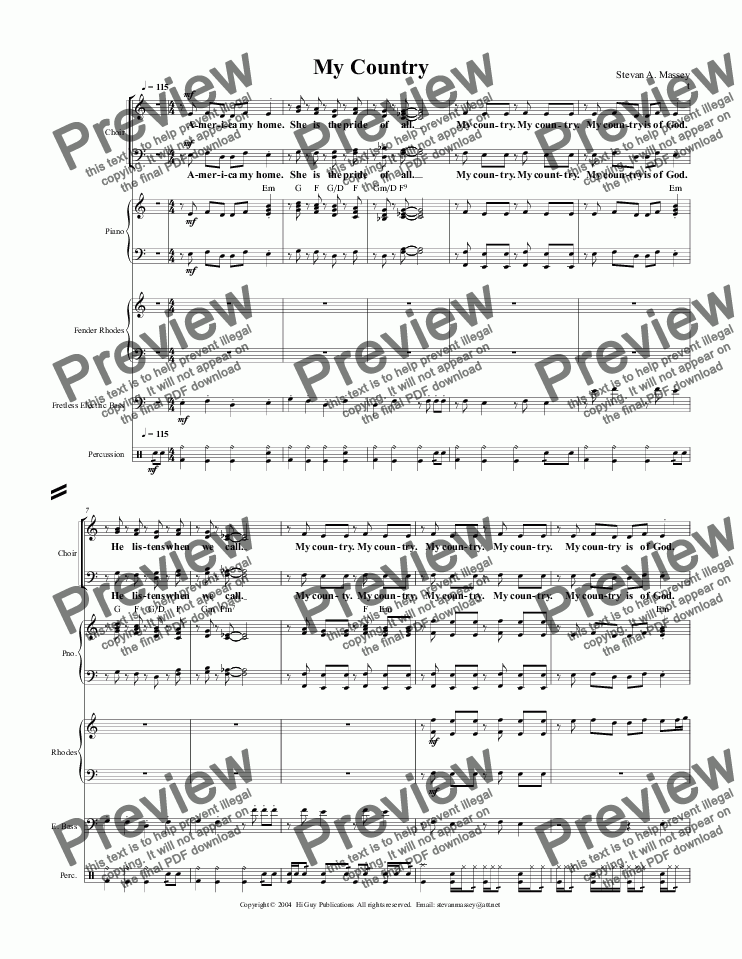page one of My Country  (PATRIOTIC/WORSHIP - SATB, keyboards, bass & drums)