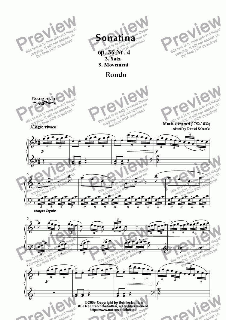 page one of Sonatina, F major, op. 36 Nr. 4, 3. movement, F major (M.Clementi)