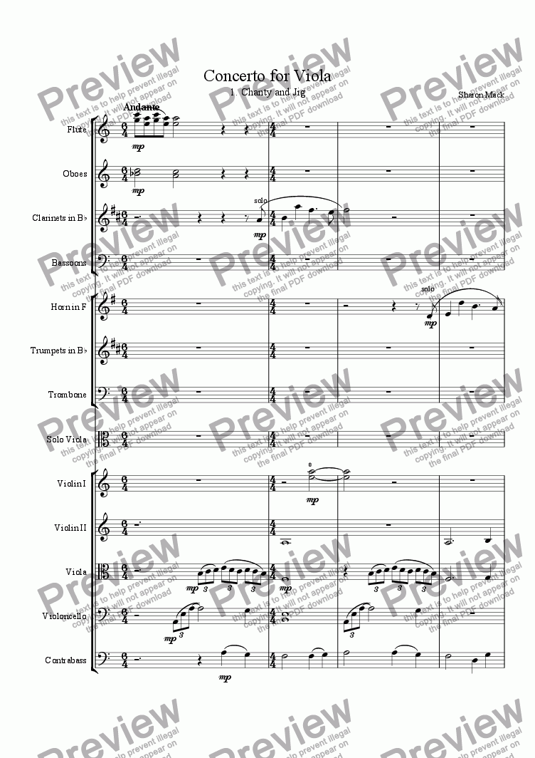 page one of Concerto for Viola, 1st movement