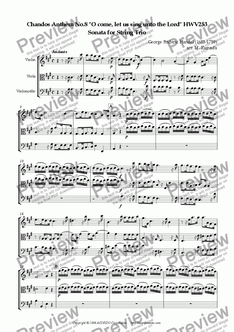 "page one of Chandos Anthem No.8 ""O come, let us sing unto the Lord"" HWV253 Sonata for String Trio"