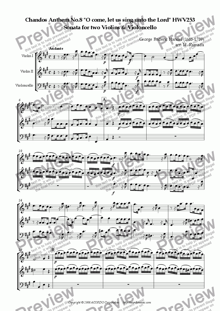 "page one of Chandos Anthem No.8 ""O come, let us sing unto the Lord"" HWV253 Sonata for two Violins & Violoncello"