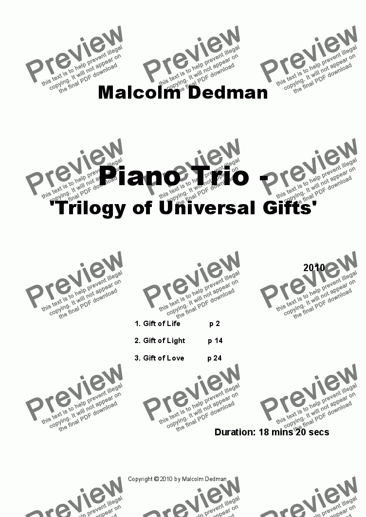 page one of Piano Trio - 'Trilogy of Universal Gifts'