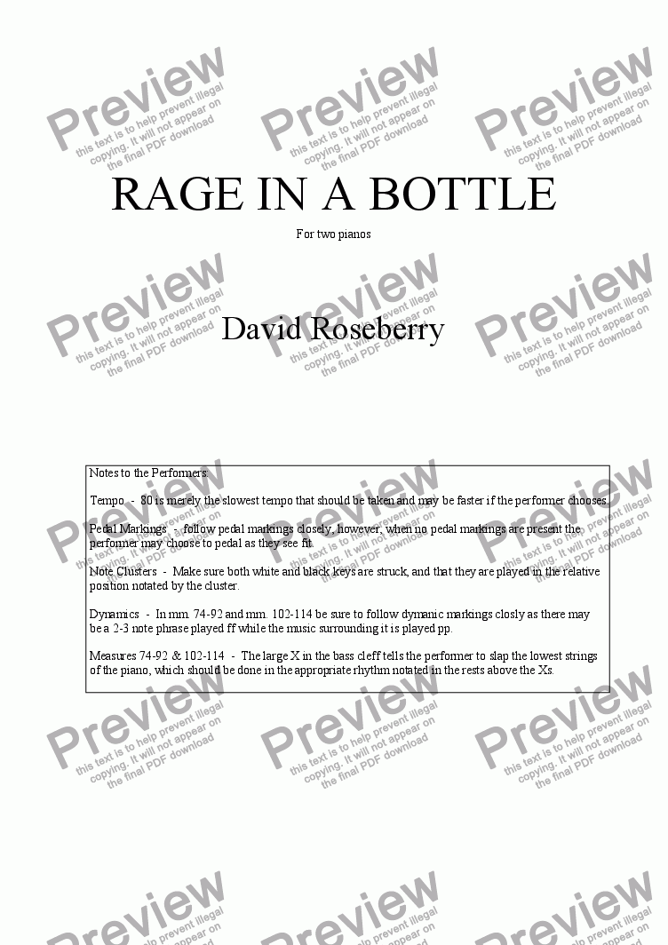 page one of Rage in a Bottle