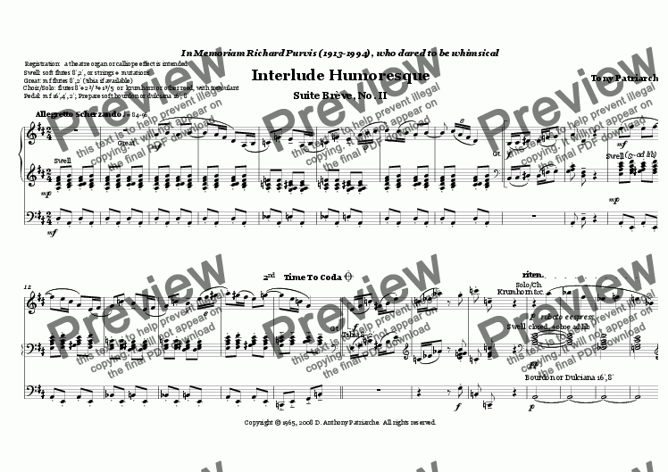 page one of Suite Breve II - Interlude Humoresque