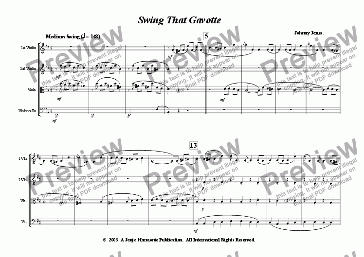 page one of Swing That Gavotte   (String Quartet)