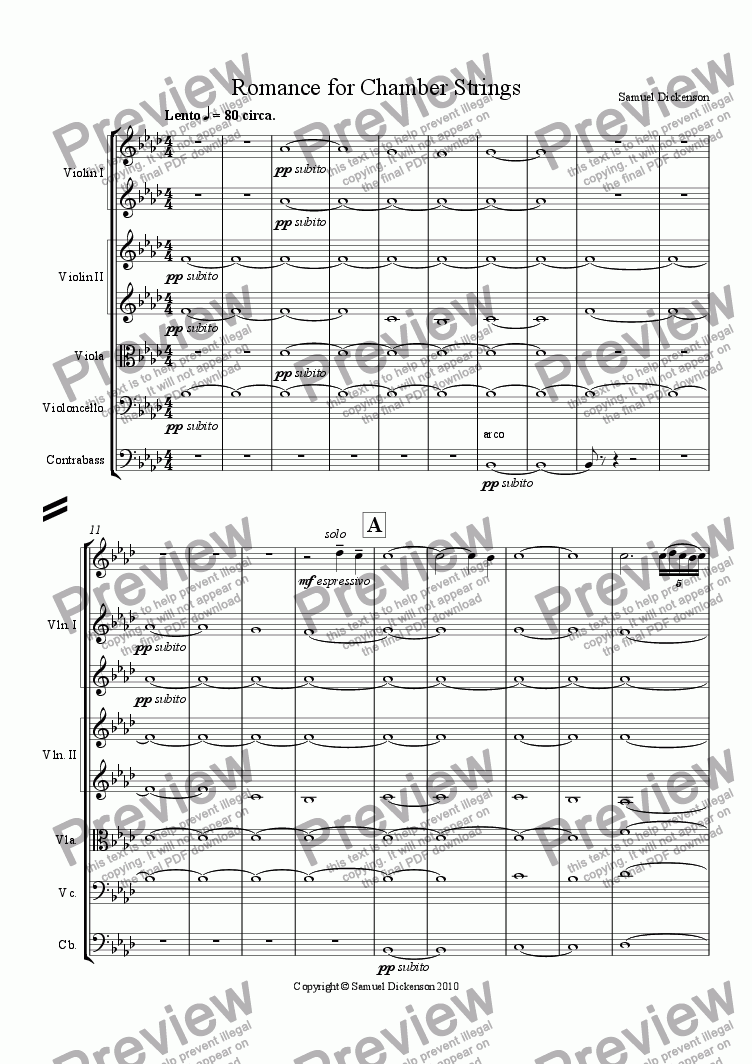 page one of Romance for Chamber Strings