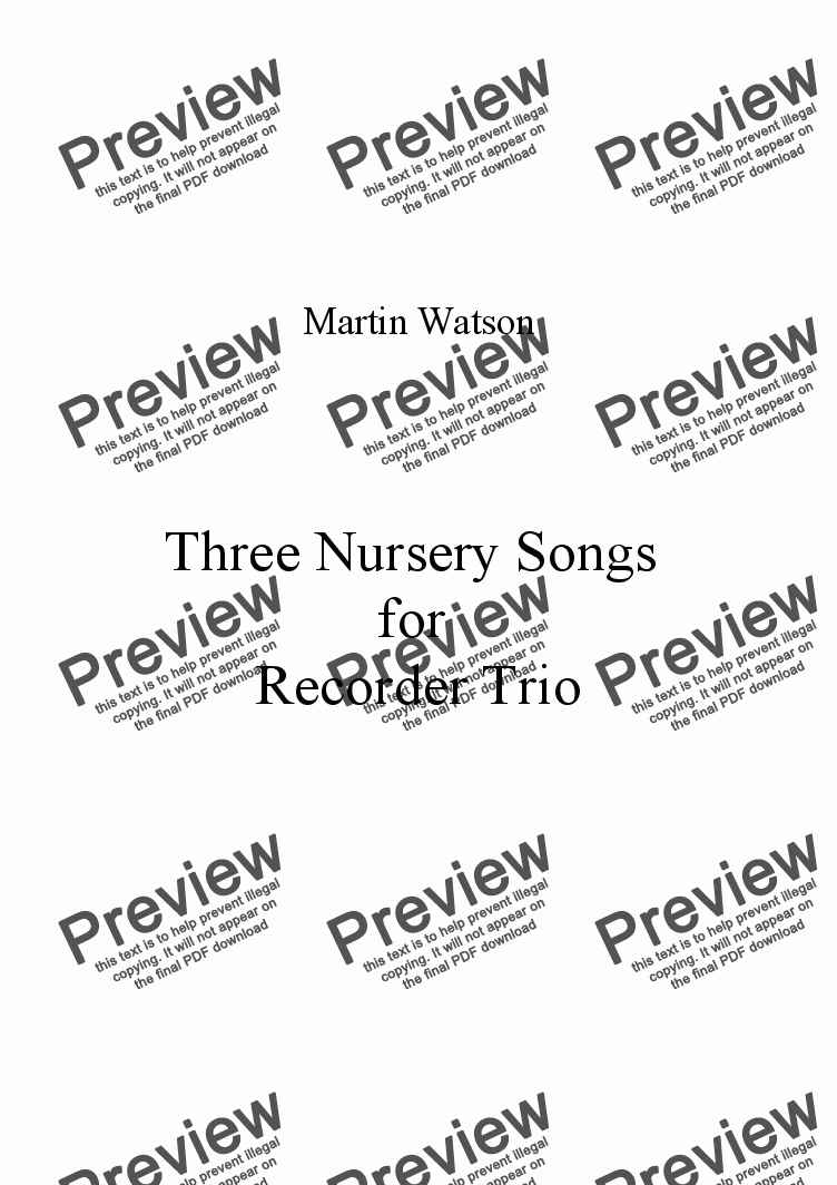 page one of Three Nursery Songs for Recorder Trio.