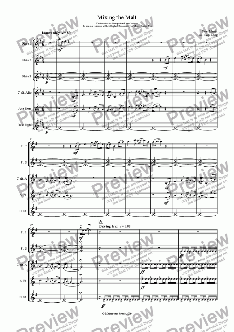 page one of Mixing the Malt - Flute Ensemble