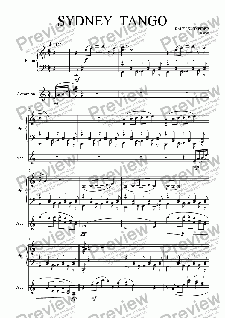 page one of Sydney Tango