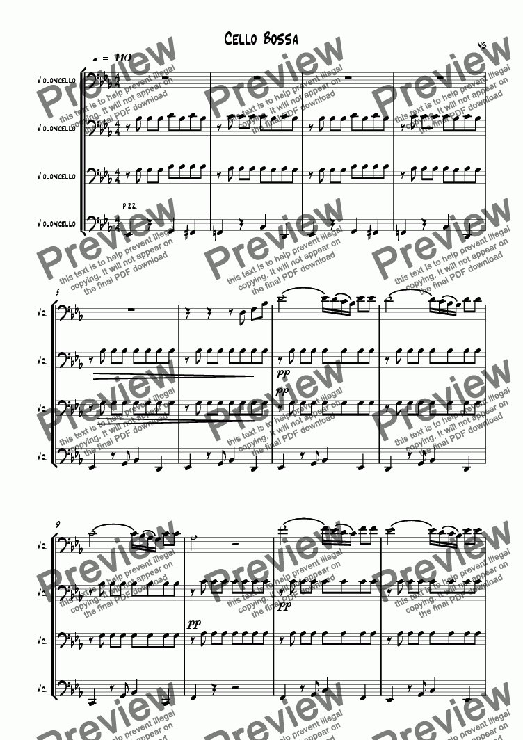 page one of Cello Bossa