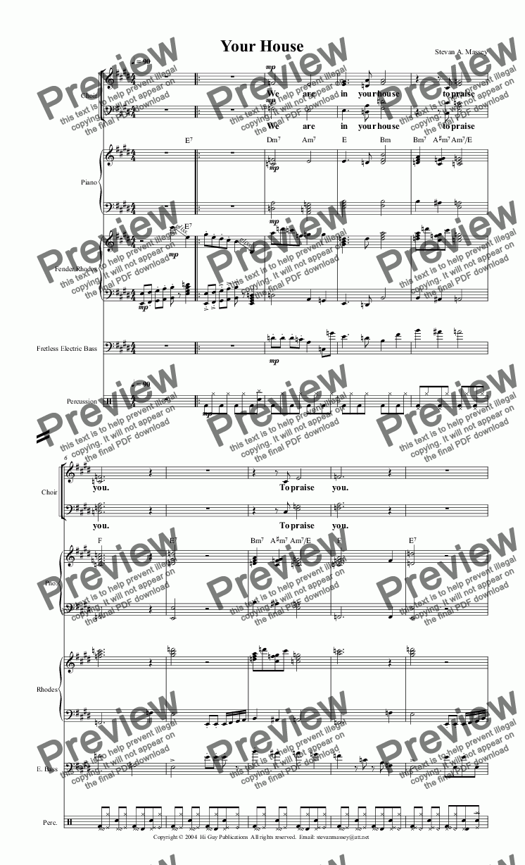 page one of Your House  (WORSHIP/POP - SATB & ensemble)