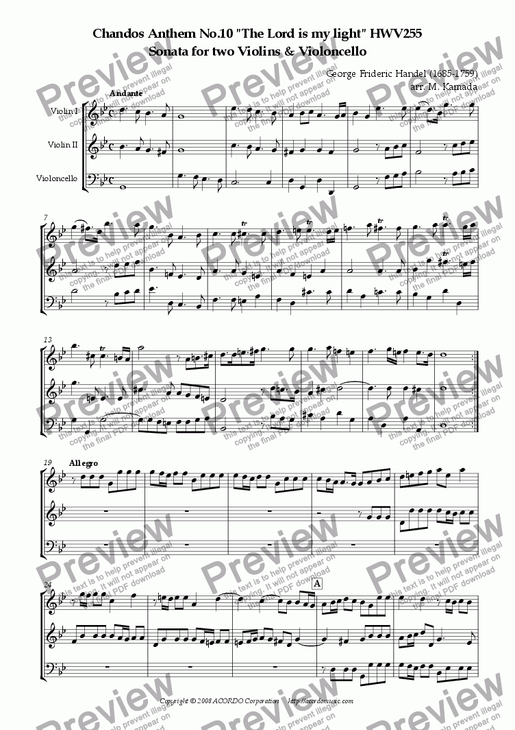 "page one of Chandos Anthem No.10 ""The Lord is my light"" HWV255 Sonata for two Violins & Violoncello"