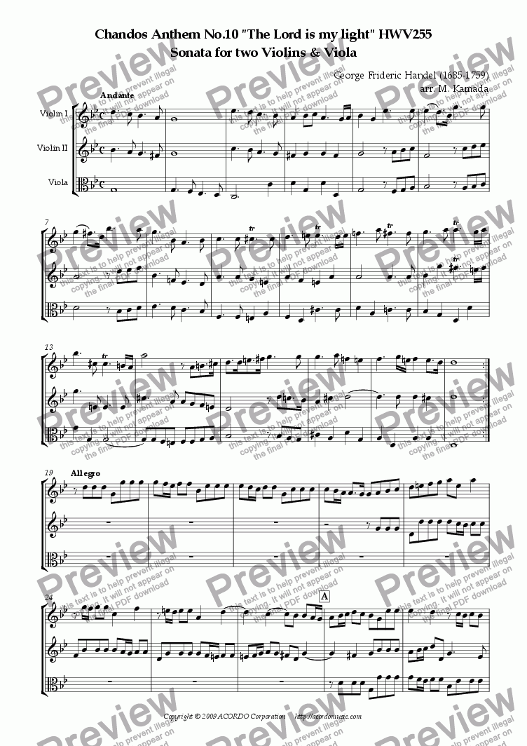 "page one of Chandos Anthem No.10 ""The Lord is my light"" HWV255 Sonata for two Violins & Viola"