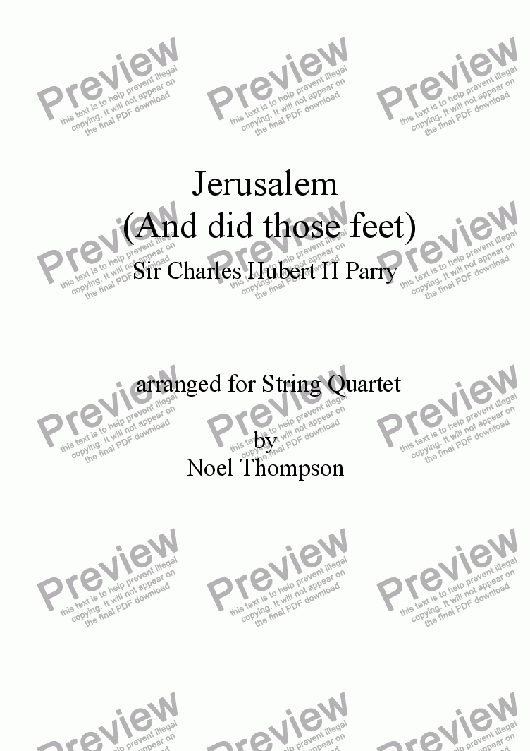 page one of In Memoriam - Jerusalem (And did those feet) arr. String Quartet