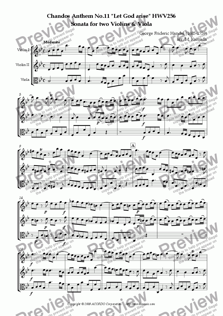 "page one of Chandos Anthem No.11 ""Let God arise"" HWV256 Sonata for two Violins & Viola"