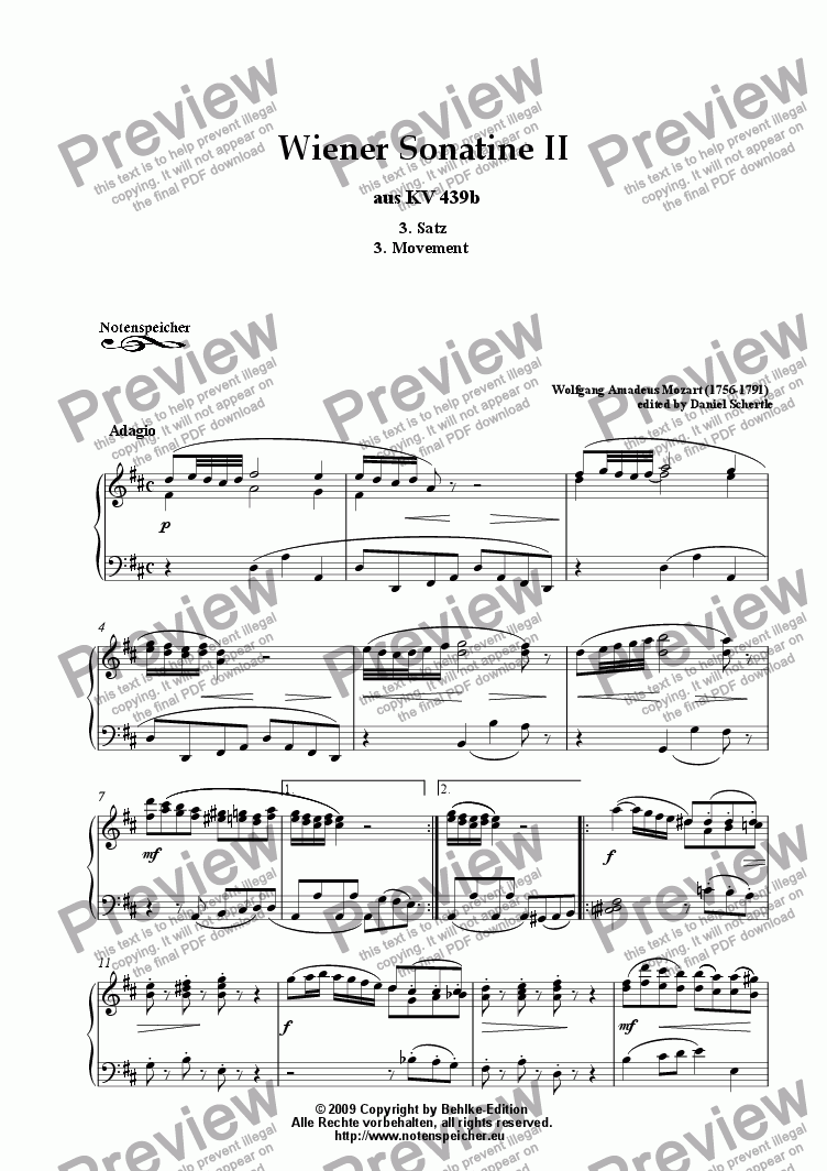 page one of Wiener Sonatine II from KV 439b, 3. Movement - Adagio (W.A.Mozart)