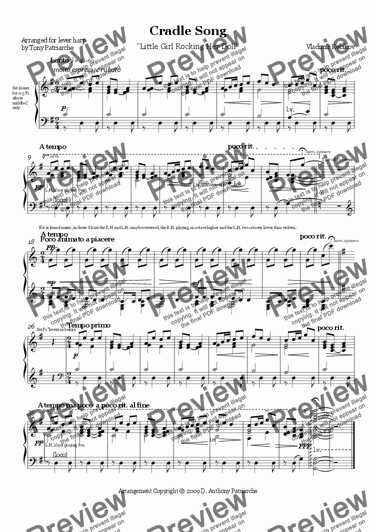 page one of Rebikov - Cradle Song - Harp