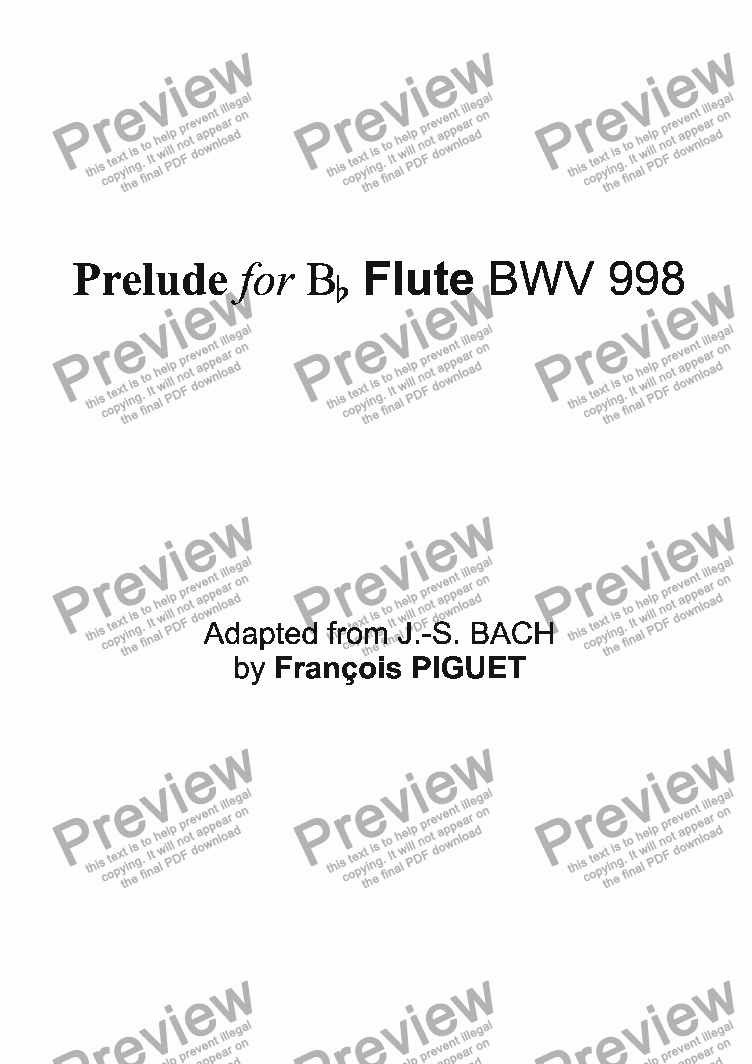 page one of Prelude for Bb Flute BWV 998
