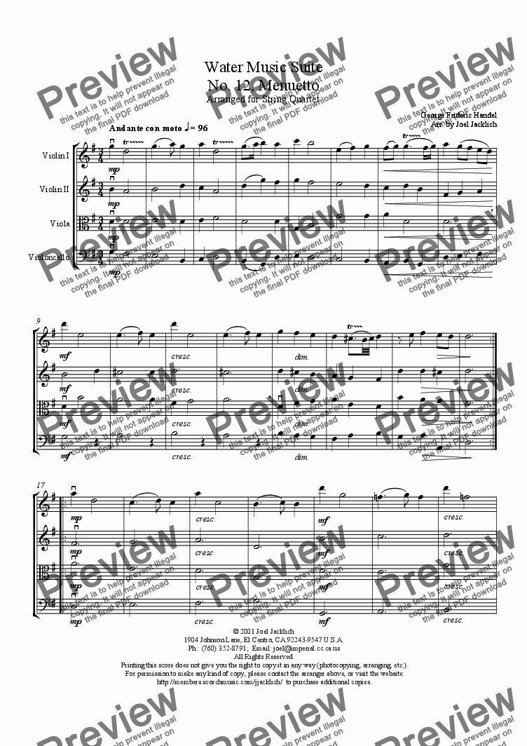 page one of Water Music Suite, No. 12, Menuetto (D)