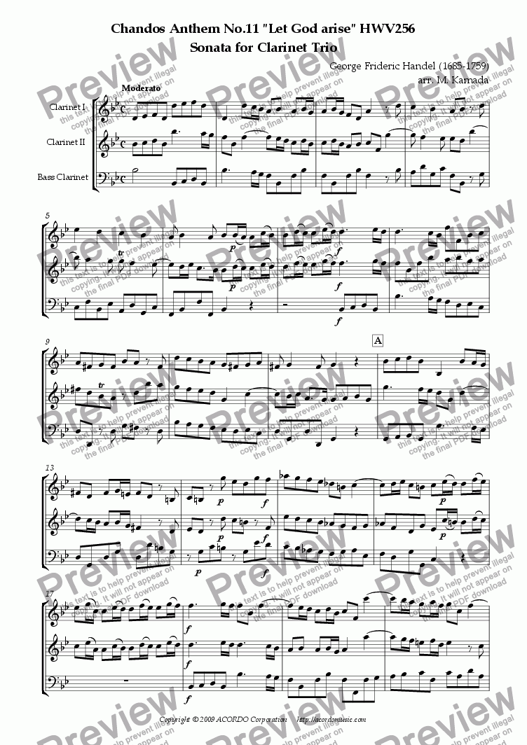 "page one of Chandos Anthem No.11 ""Let God arise"" HWV256 Sonata for Clarinet Trio"