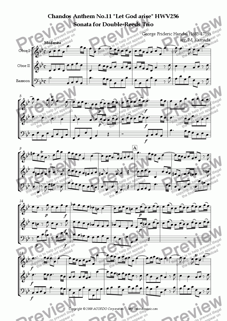 "page one of Chandos Anthem No.11 ""Let God arise"" HWV256 Sonata for Double-Reeds Trio"