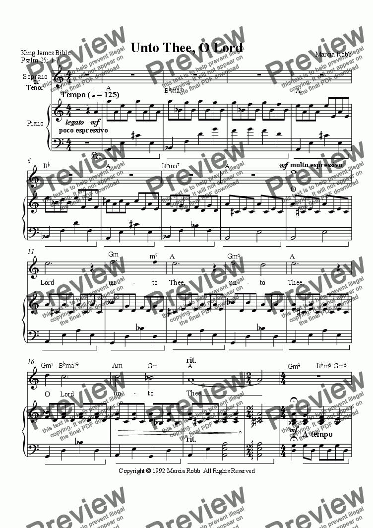 page one of Unto Thee, O Lord  (soprano or tenor version)