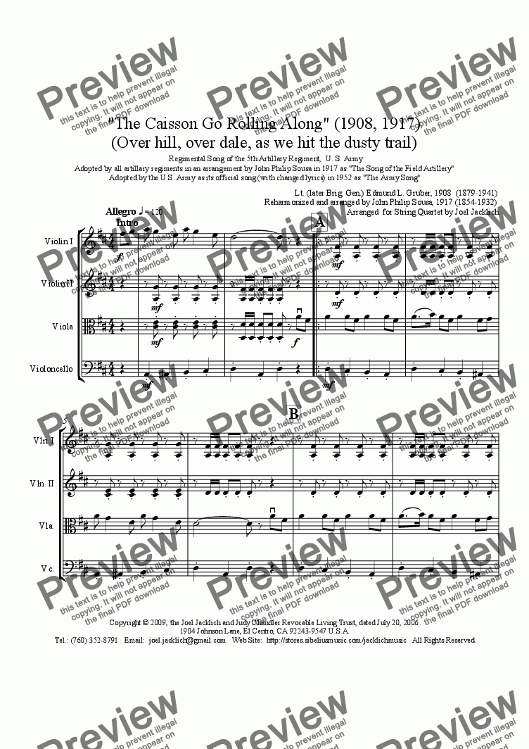 page one of The Caisson Song (Over hill, over dale)