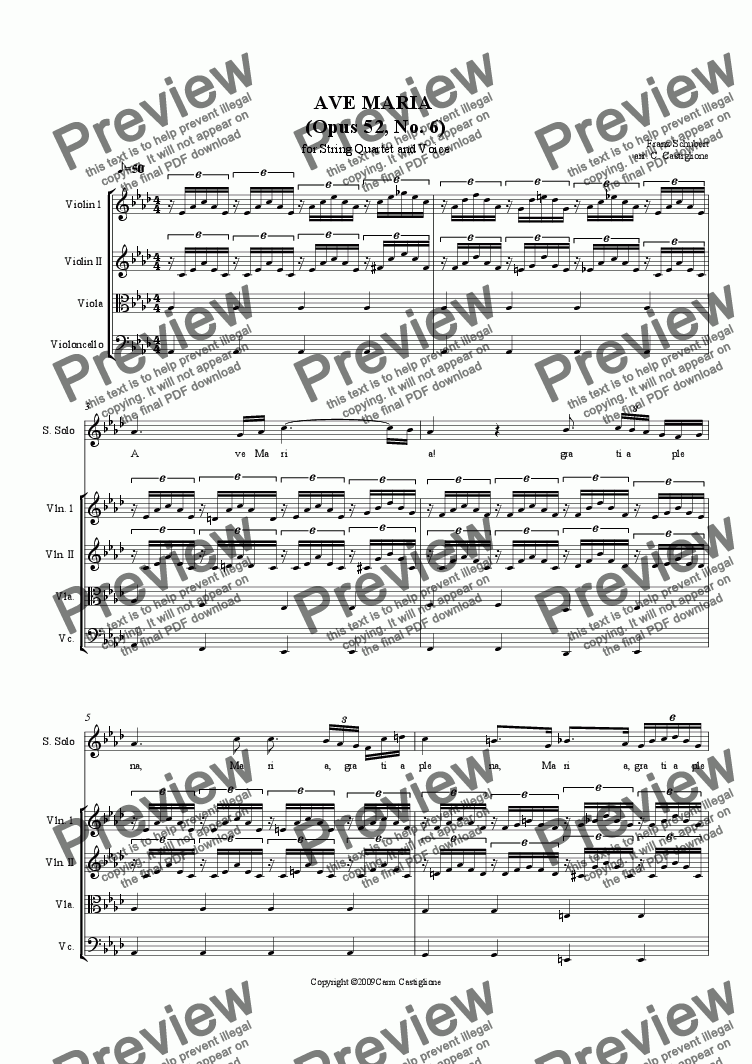 page one of Ave Maria-Schubert (for Voice and Strings)