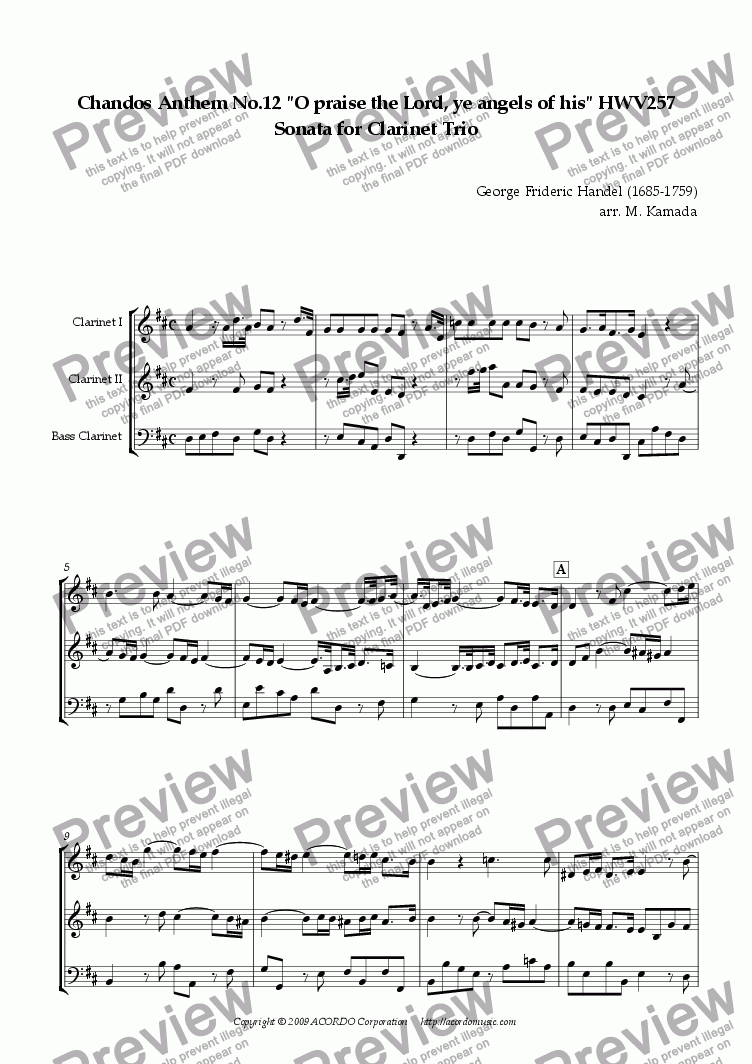 "page one of Chandos Anthem No.12 ""O praise the Lord, ye angels of his"" HWV257 Sonata for Clarinet Trio"