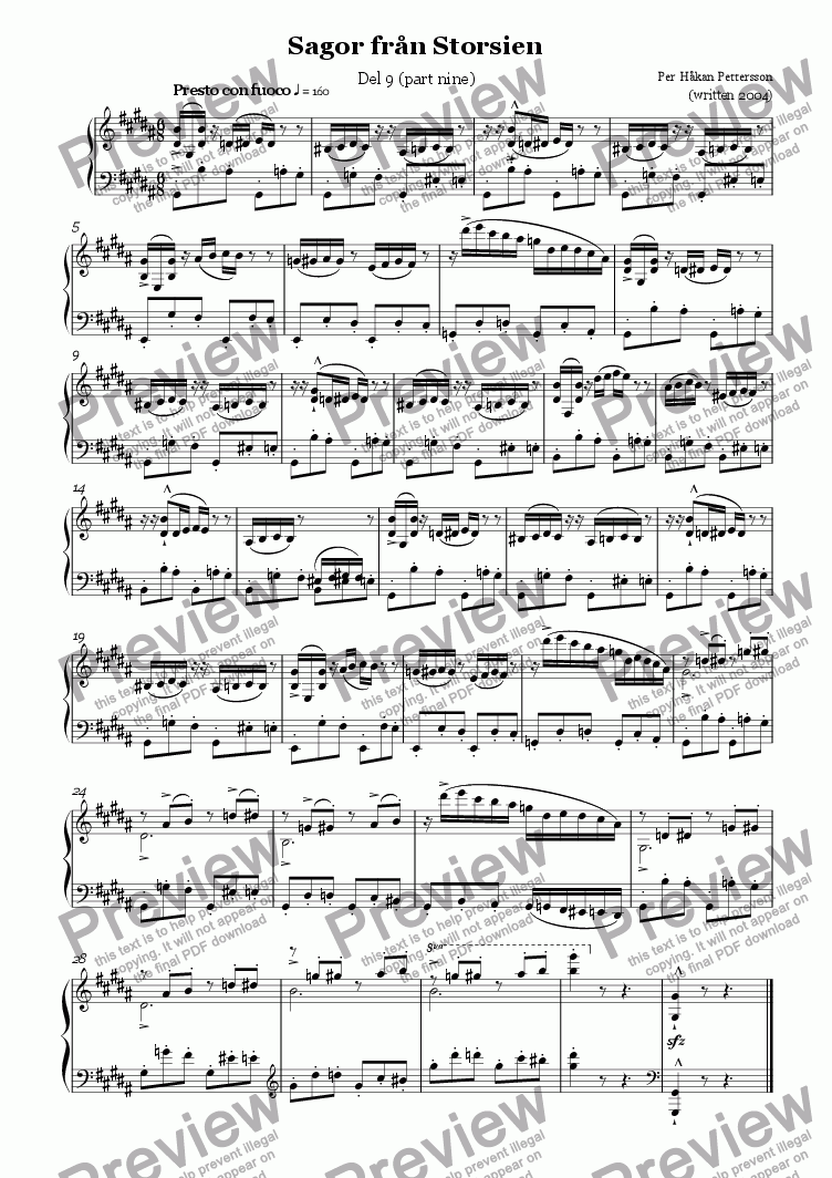 page one of Storsien Tales (part nine) Piano