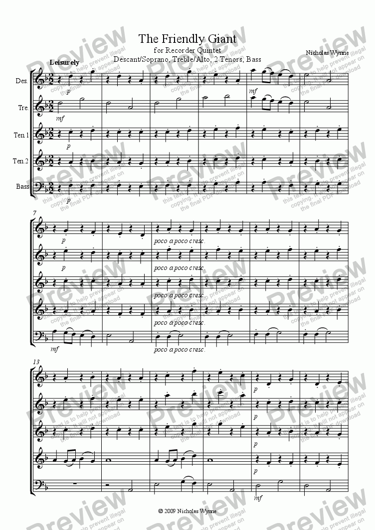 page one of The Friendly Giant for Recorder Quintet