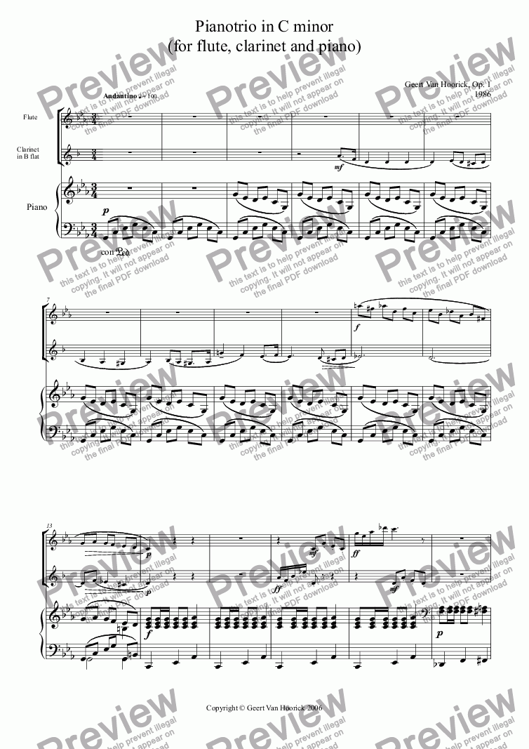 page one of Piano trio (for flute, clarinet and piano)
