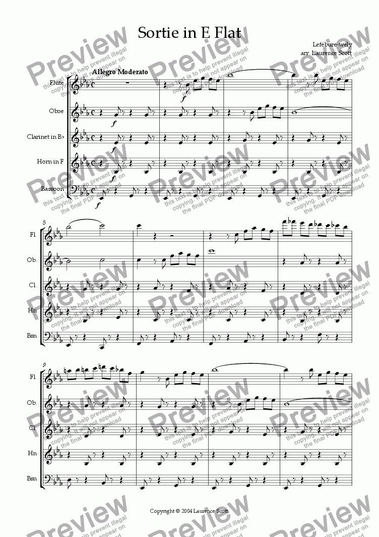 page one of Sortie in E Flat (for Wind Quintet)