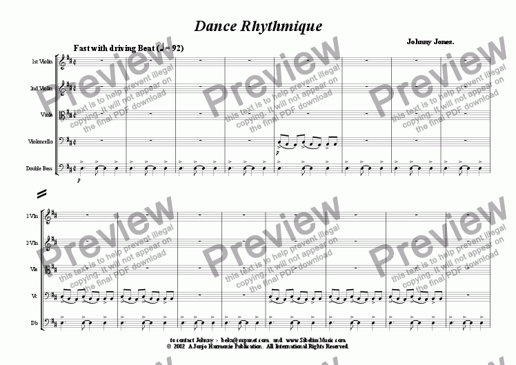 page one of Dance Rhythmique   (String Quintet)