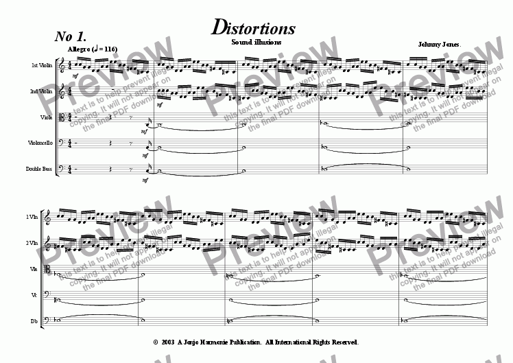 page one of Distortions #1 and #2   (String Quintet)