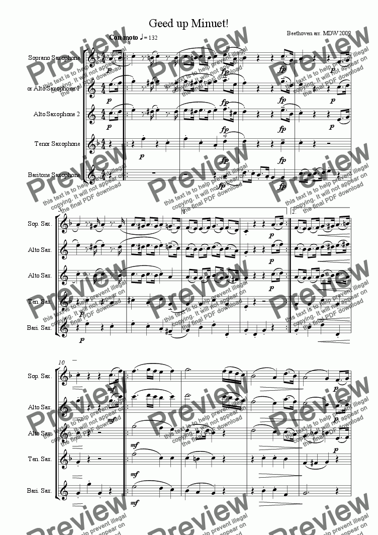 page one of Saxophone quartet: Geed Up Minuet! by Beethoven