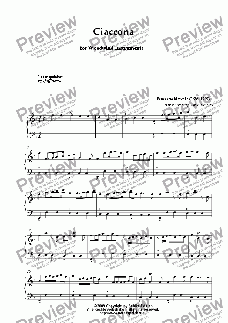 page one of Ciaccona in F major, transcription for woodwind instruments  (B. Marcello)