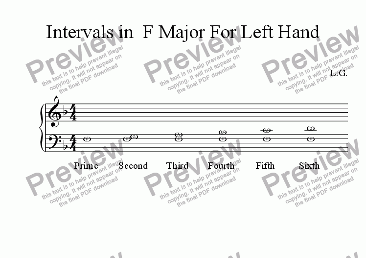 page one of Intervals in F Major For Left Hand