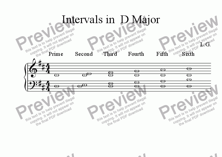 page one of Intervals In D Major For Both Hands
