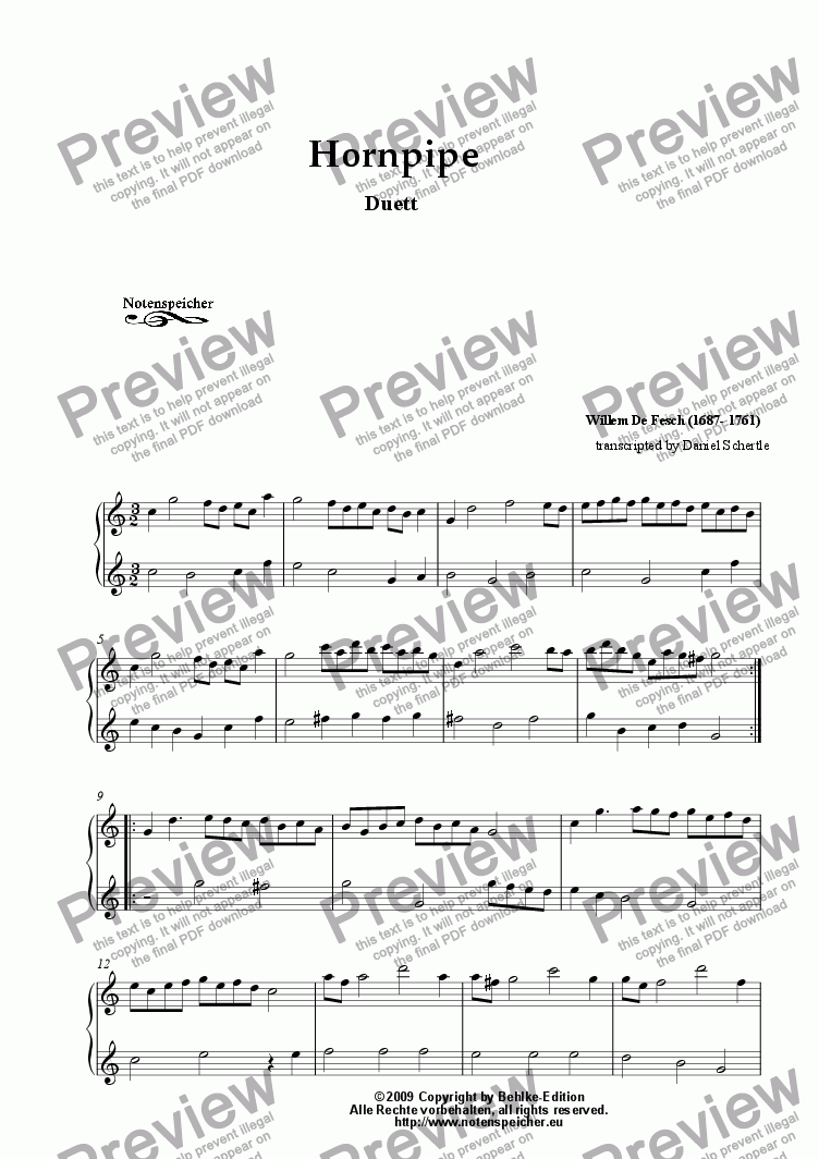 page one of Hornpipe C major, Duetto for woodwind instruments (W. de Fesch)