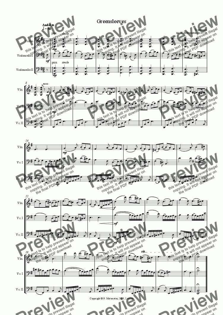 page one of Greensleeves (for 1 violin and 2 violoncellos)