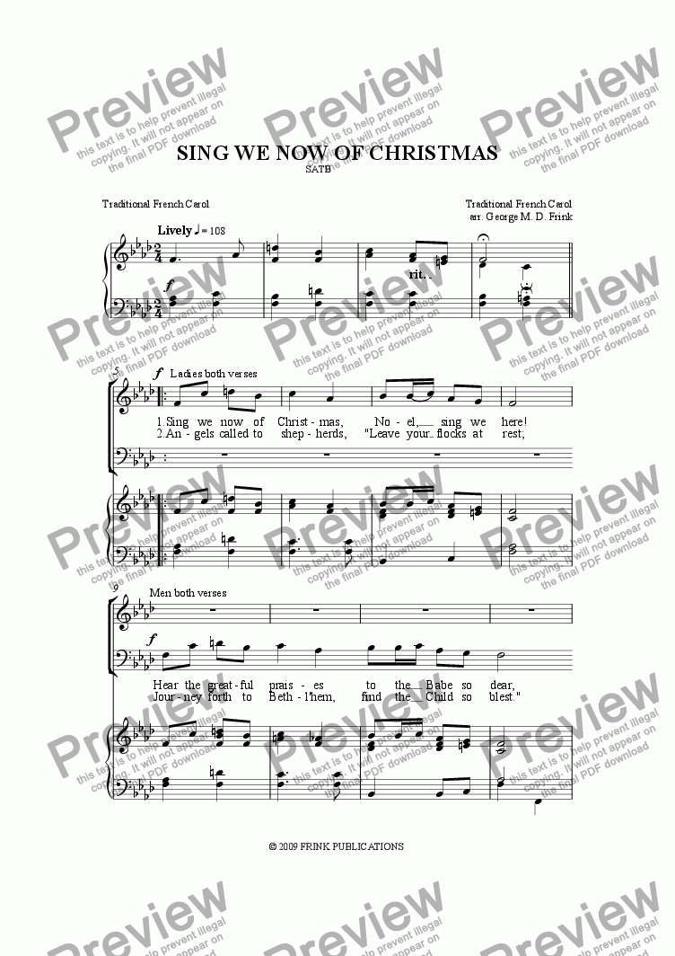 Sing We Now Of Christmas.Sing We Now Of Christmas Satb For Voice Keyboard By Trad Sheet Music Pdf File To Download